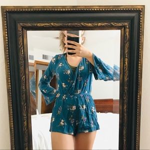 Deep V Floral Bell Sleeve Romper by Mimi Chica